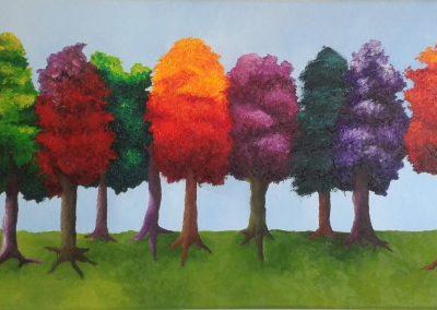 Gekleurde bomenrij