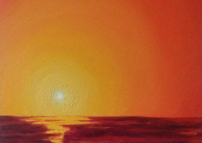 Ondergaande zon rood